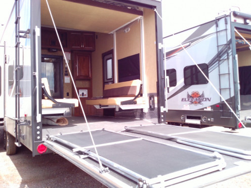 Having a garage for your home on the road is a remarkable convenience. Many have extra bunks or sitting areas for when you take your toys out to play, adding to the space in your home away from home.