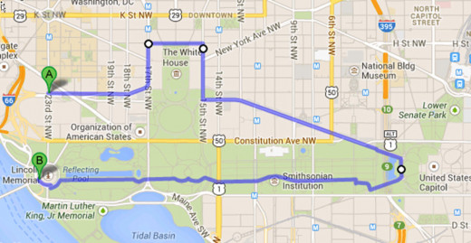 Depicted in image is the full route you will take with your 3 hour Mall tour.