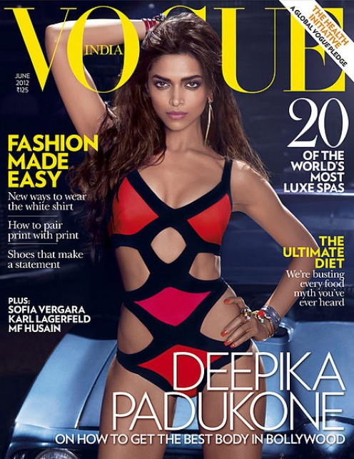 Deepika Padukone on the cover of Vogue India June 2012 issue