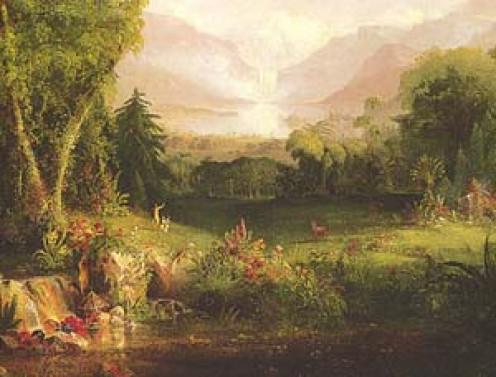 """""""The Garden of Eden"""" by Thomas Cole (c. 1828)"""