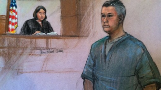 Courtroom sketch of 'Whte Devil' John Willis