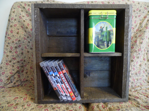 Pallet wood crate that doubles as a shelf.