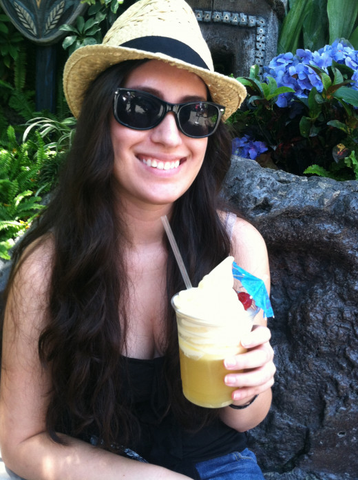 Here is the famous Dole Whip Float: Pineapple soft serve with pineapple juice. Located at the Tiki Room.