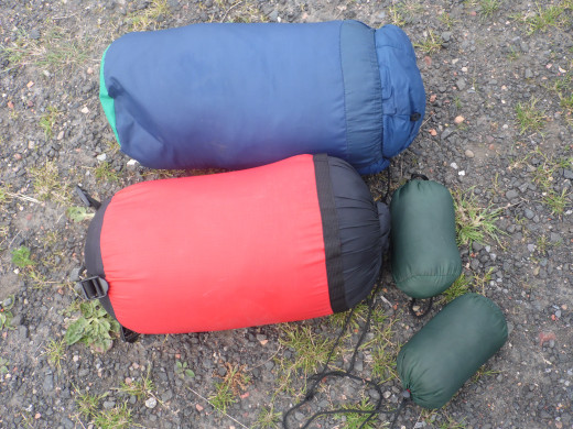 Sleeping bags and camping pillows