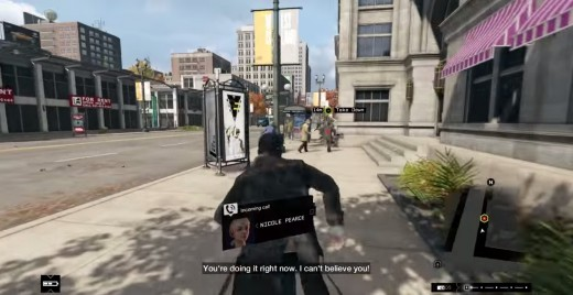 Aiden pursues a stalker through the streets of Chicago during the Big Brother mission of Watch_Dogs.