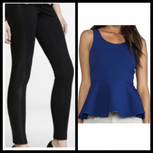 A closer look at the Black Scuba Leggings and Royal Blue Peplum Tank. Media provided by Express and Revolve.