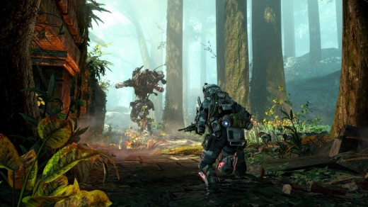 A pilot caught offguard by an artillery model Titan in Swampland, a map from Titanfall's first DLC pack Expedition.