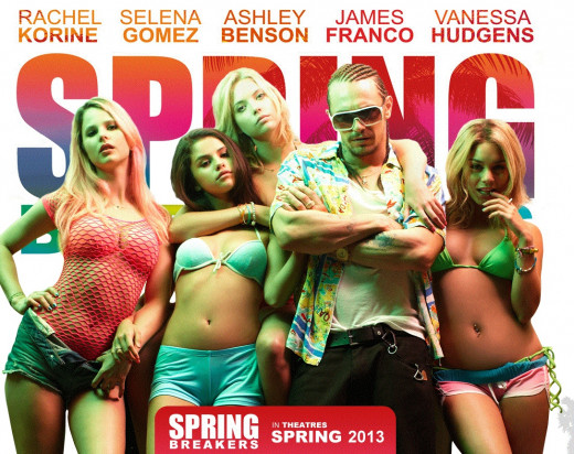 Movie poster for Spring Breakers starring Selena Gomez