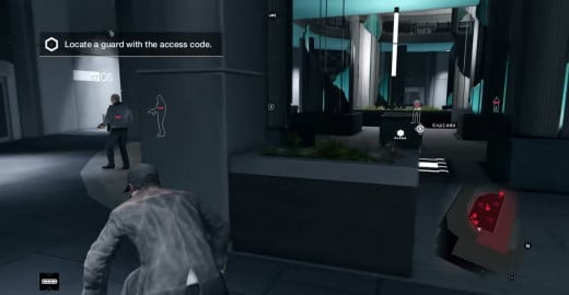 Skulking through Theatre Square, Aiden remains out of sight of guards while trying to find one with security clearance during the Open Your World mission of Watch_Dogs.