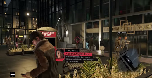 Aiden secretly IDs Helena Tucci, the niece of his target in A Wrench in the Works, an early mission in Watch_Dogs.