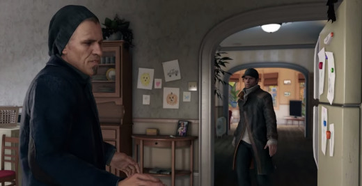 Aiden confronts Damien, his former partner, while visiting his sister's home in Watch_Dogs.