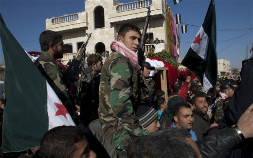 Members of the Free Syrian Army, a rebel movement aiming to depose President Bashar al-assad