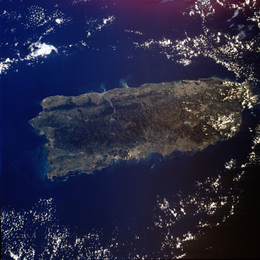 Satellite view of Puerto Rico
