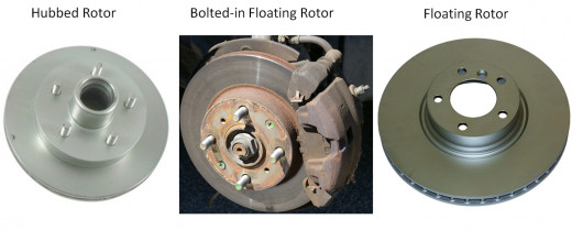Hubbed rotors have the wheel bearing hub attached. Floating rotors sit over the wheel studs. In the center, the caliper torque plate will have to be removed to remove the rotor.