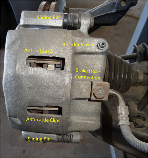 The Floating Caliper rides on two pins. Anti-rattle clips reduce the brake noise. The brake fluid is delivered through a flexible brake line.