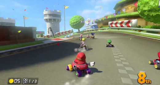 Shy Guy busts out an awesome slide during a match of Mario Kart 8.