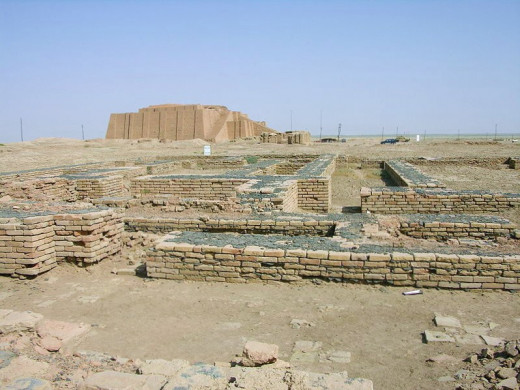 Ruins of the Giparu Temple of Ur in the foreground, Enheduanna's temple complex and personal residence with private royal cemetery. Excavated 1927 by Sir Wooley, Ziggurat Temple is in the distance,