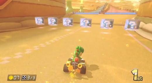 Yoshi prepares to snag an item box in Mario Kart 8.