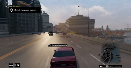 Aiden successfully flees from a gang of mercenary Fixers during the One Foot in the Grave mission of Watch_Dogs.
