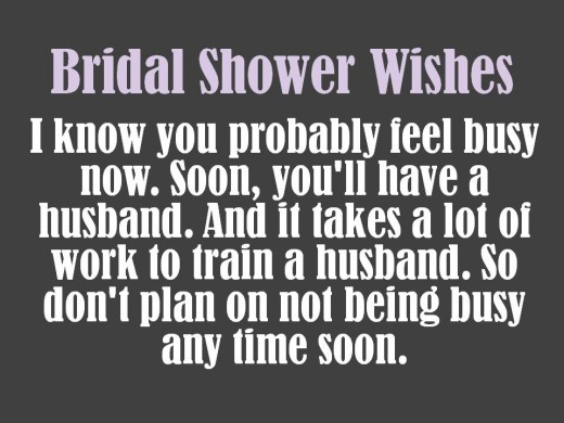 funny bridal shower message