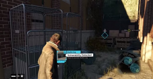 Aiden finds an Audio Log while exploring a desolate island section in the south of Chicago during the A Blank Spot There-Ish mission of Watch_Dogs.
