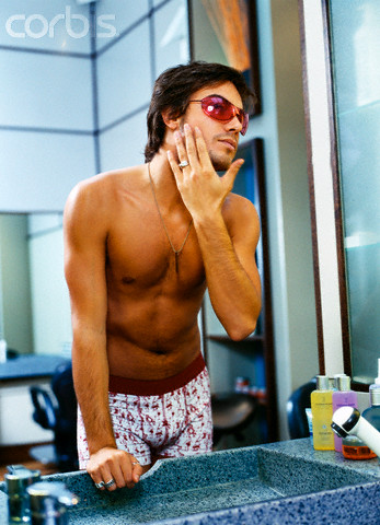 Pal, you can look cool too if you will just wear shades and underwear while shaving