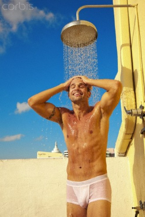 That's it, friend. Cool off in the beach shower while sporting your new underwear
