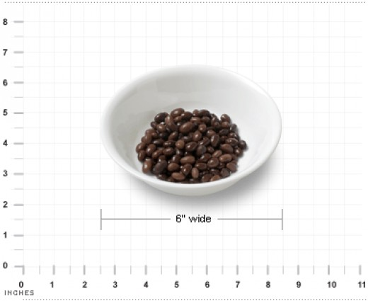 An actual serving size of black beans.