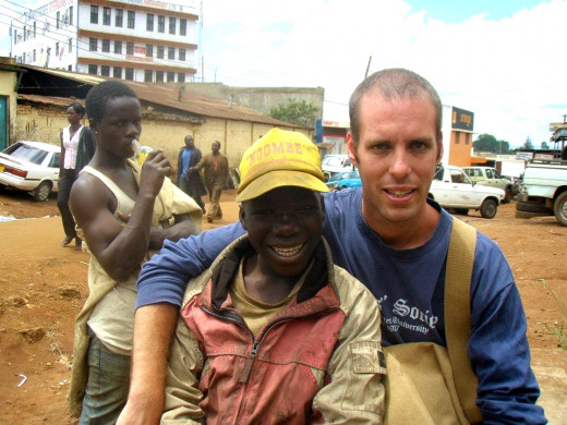 This is my buddy Alex and me on a typical day in the streets of Kitale, Kenya.