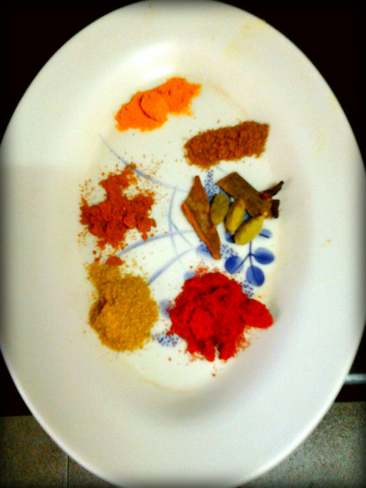 Spices for making the chicken curry