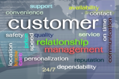 A word cloud which helps define aspects of superior customer service.