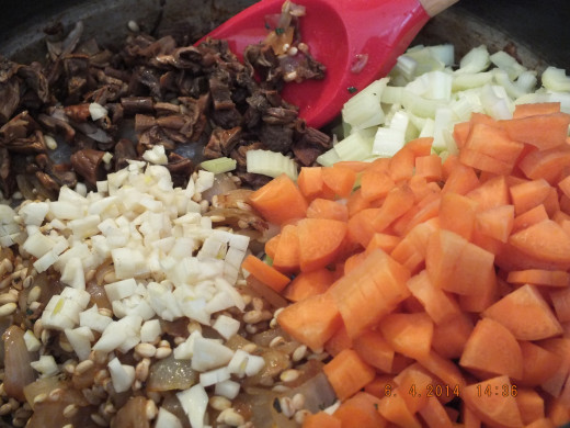 The vegetables are soaked and drained.  Add porcini mushrooms to the onions.