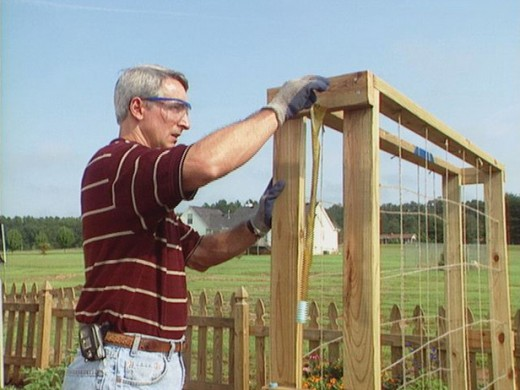 Here is a simple frame being built for growing cucumbers or pole beans.