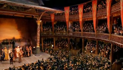 The packed Globe Theatre as portrayed on BBC's 'Doctor Who'