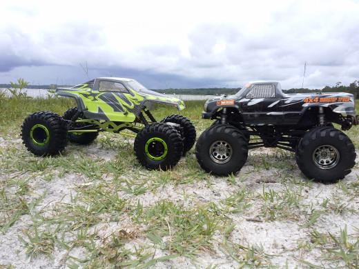 My husbands RC Trucks on an Island on Carney Island.