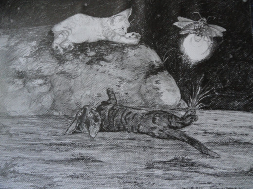 Through the play of my cats I felt obliged to use them in my art with great results.