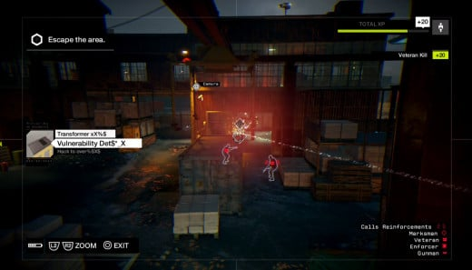 Aiden performs some complex hacking to take down a ton of enemies in the warehouse section of A Risky Bid, one of the harder missions in Watch_Dogs,