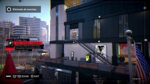 Aiden sneaks a look at some baddies from a distance during the Role Model mission in Watch_Dogs.