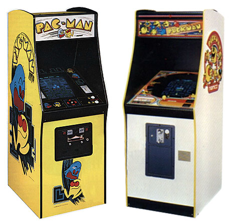 The North American Pac-Mancabinet design (left) differs significantly from the Japanese Puck Man design (right).
