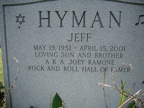 Joey Ramone's grave at Hillside Cemetery in Lyndhurst, NJ.