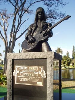 Johnny Ramone's memorial at Hollywood Forever Cemetery in Los Angeles, CA.