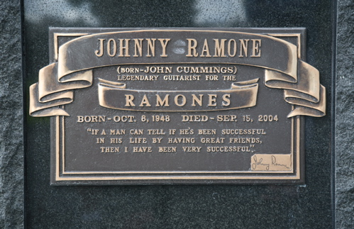 The plague on Johnny Ramone's grave stone at Hollywood Forever Cemetery in Los Angeles, CA.