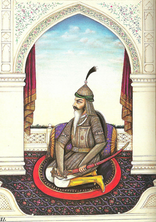 """General Hari Singh Nalwa seated in full armour adopting a militant stance"" by Sir John McQueen"