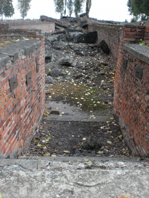 Rubble of gas chambers from ground level. With the end of the war in sight the Nazis made an effort to demolish evidence of their crimes.