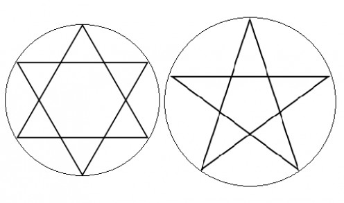 Hexagram/Star of David left with Pentagram right