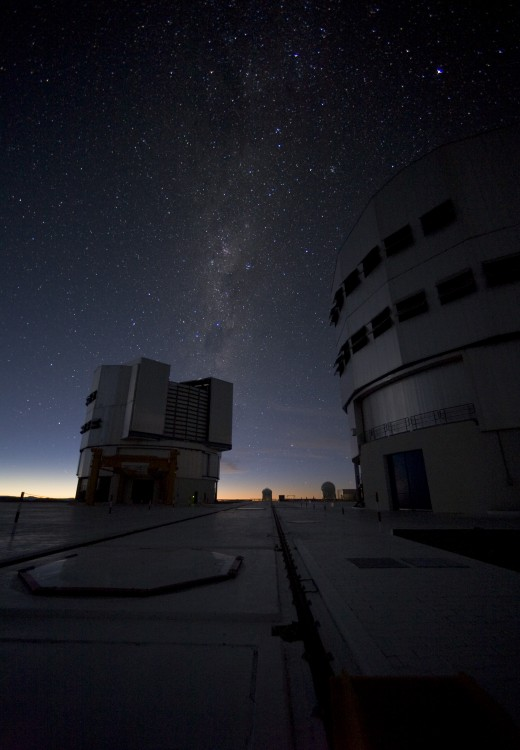 The European Southern Observatory Very Large Telescope (VLT) atop Cerro Paranal, a 2600-metre high mountain in Chile.