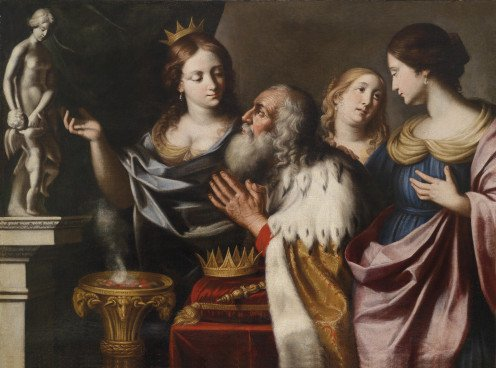 Solomon and his wives worshiping Aphrodite and Eros