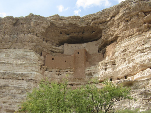 Montezuma Castle perched 100 feet above canyon floor.