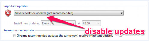 It is not recommended to disable Windows update but do so in case of  excessive data usage