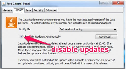 Disable application updates